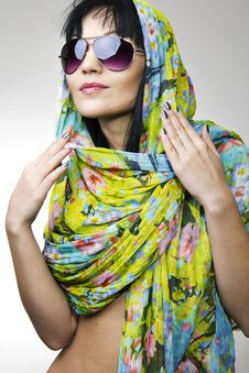 Free The Beautiful Girl In A Motley Scarf Royalty Free Stock Photos - 17992718