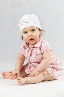 Free Sweet Baby In White Cap Royalty Free Stock Photo - 17992805