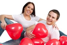Couple With A Red Heart Stock Image