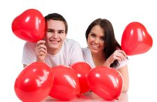 Couple With A Red Heart Stock Images