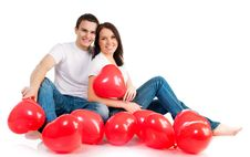 Free Couple With A Red Heart Royalty Free Stock Images - 17994259