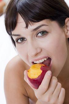 Close Up  With Nectarine Stock Image