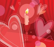 Free Candle And Flying Hearts Stock Images - 17995824