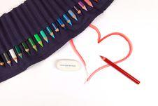 Free Pencil Drawn Happy Valentines Day Heart Royalty Free Stock Photos - 17995928
