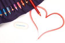 Free Pencil Drawn Happy Valentines Day Heart Stock Photos - 17996043