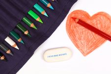 Free Pencil Drawn Happy Valentines Day Heart Royalty Free Stock Photography - 17996187
