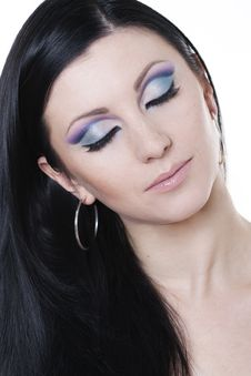 Free Brunette Woman With Blue And Purple Makeup Stock Photography - 17996232