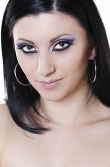 Free Brunette Woman With Blue And Purple Makeup Stock Photo - 17996370