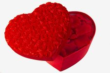 Rose Heart Box With Rose Petals Stock Image