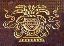 Free Marble Carve  Gold Paint  In Temple Wall Stock Images - 17998374