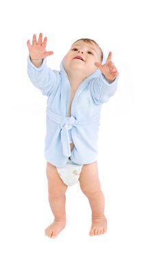 Free Baby In Blue Bathrobe Stock Photography - 17999972