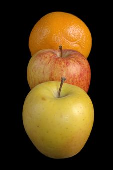 Free Two Apples And An Orange In Line Stock Images - 182834