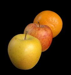 Two Apples And An Orange Royalty Free Stock Photo
