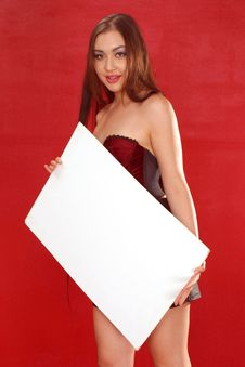 Free Girl With Sign Board Stock Photo - 187600