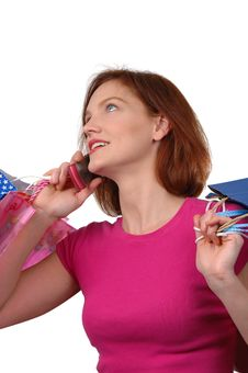 Free Woman Shopping And Cell Phone Stock Photos - 1800383