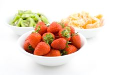 Free Kiwi, Strawberry And Mandarine, Tangerine In White Bowls Stock Image - 1802301
