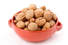 Free Red Bowl With Mixed Nuts, Walnuts, Hazelnuts, Almonds Royalty Free Stock Image - 1802306