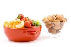 Free Kiwi, Strawberry And Mandarine, Tangerine With Mixed Nuts Royalty Free Stock Photo - 1802375