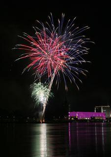 Free Fireworks Over The Danube In Linz, Austria 5 Stock Photo - 1802680