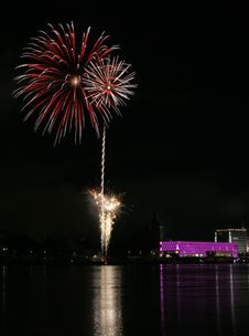 Fireworks Over The Danube In Linz, Austria 7 Royalty Free Stock Photo