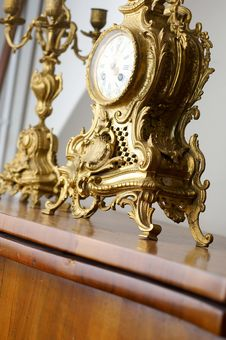 Free An Old Golden Clock Stock Images - 1803154