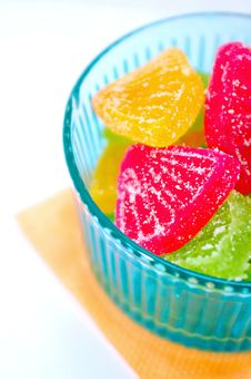 Fruit Jellies In The Blue Vase Stock Photos