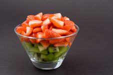 Free Strawberries With Kiwi In Transparent Bowl On Dark Background Royalty Free Stock Photo - 1804395