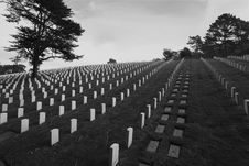 Free Headstones In The San Francisco National Cemetery Royalty Free Stock Image - 1805256
