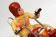 Toy Motorbike With Driver Royalty Free Stock Photography
