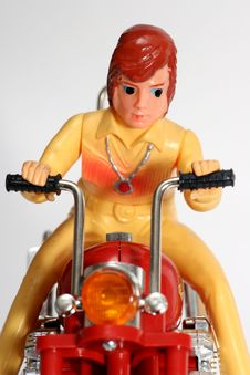 Free Toy Motorbike With Driver Frontview Royalty Free Stock Images - 1805699