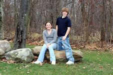 Free Young Happy Teen Siblings (1) Stock Photography - 1808682