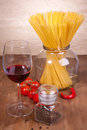 Free Pasta, Tomato, Pepper And Glass Of Red Wine Royalty Free Stock Photo - 18006355