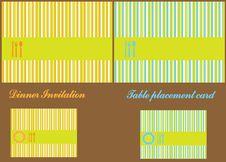 Dinner Invitation Stripes Card Stock Images