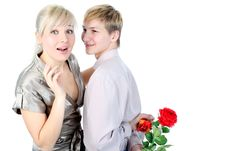 Free Couple With Gift And Flower Stock Photo - 18002620