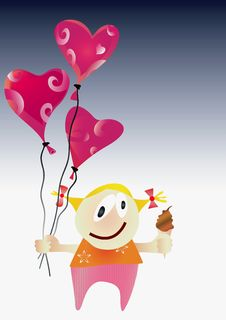 Free Girl With Valentine Day Balloons. Royalty Free Stock Photography - 18002887