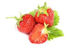 Free Fresh Ripe Strawberry On White Background Royalty Free Stock Photography - 18003187