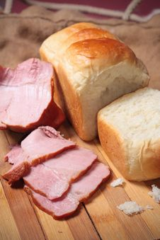 A Piece Of Delicious Ham And Bread Royalty Free Stock Photography