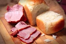 A Piece Of Delicious Ham And Bread Stock Photo