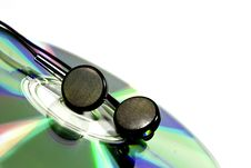 Free Disk And Earphones Royalty Free Stock Image - 18004156