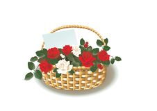 Free Basket With Roses Stock Image - 18004431