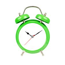 Free Classic Alarm Clock. Isolated, Green On White. Stock Images - 18004434