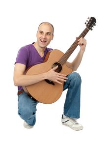 Free Man With Acoustic Guitar Stock Image - 18004611