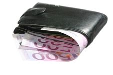 Five-hundredth Euro Banknotes In Leather Wallet Royalty Free Stock Photography