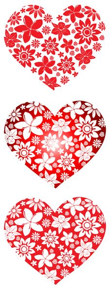 Free Floral Hearts Collection Royalty Free Stock Photography - 18004877