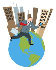 Free Businessman Running Around A Globe Royalty Free Stock Photography - 18004897