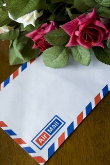 Free Airmail And Roses Royalty Free Stock Photos - 18005178