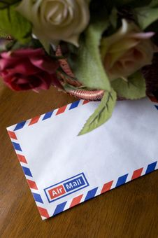 Airmail Envelope With Roses Royalty Free Stock Photo