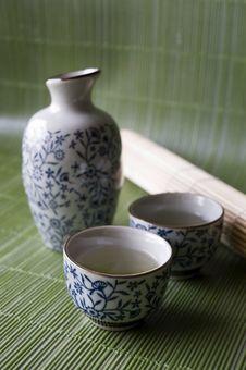 Free Sake Set On Green Background Royalty Free Stock Photos - 18005378