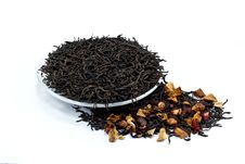 Free Black Tea Leaves With Dried Fruit Tea Stock Images - 18005494