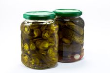 Free Pickle And Jalapeno Jar Royalty Free Stock Image - 18005826